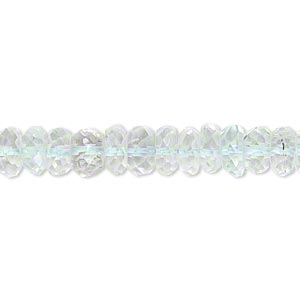 bead, goshenite (natural), 7x3mm-9x5mm hand-cut faceted rondelle, b- grade, mohs hardness 7-1/2 to 8. sold per 15-inch strand.