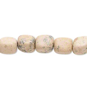 bead, grain stone (natural), medium to large pebble, mohs hardness 3. sold per 16-inch strand.
