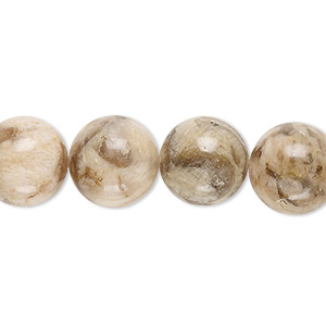 bead, graphic feldspar (natural), 12mm round, b grade, mohs hardness 6 to 6-1/2. sold per 8-inch strand.