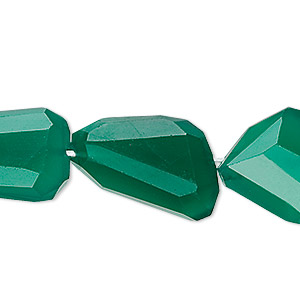 bead, green agate (dyed), 21x15mm-23x18mm hand-cut tumbled faceted freeform, b- grade, mohs hardness 6-1/2 to 7. sold per pkg of 10.