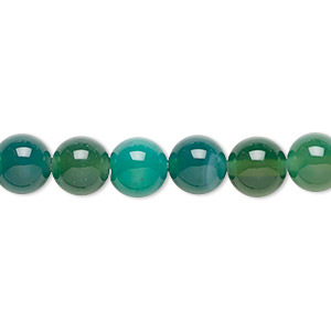 bead, green agate (dyed), 8mm round, b grade, mohs hardness 6-1/2 to 7. sold per 16-inch strand.