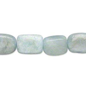 bead, green aquamarine (heated), small flat nugget, mohs hardness 7-1/2 to 8. sold per 16-inch strand.