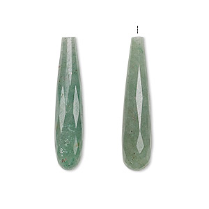 bead, green aventurine (natural), 27x5mm-28x6mm hand-cut half-drilled faceted teardrop, b grade, mohs hardness 7. sold per pkg of 2.