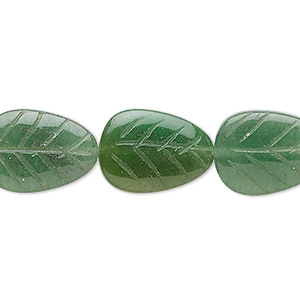 bead, green aventurine (natural), light to medium, 18x13mm-20x15mm carved leaf, b grade, mohs hardness 7. sold per 16-inch strand.