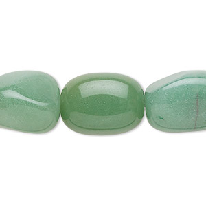 bead, green aventurine (natural), light to medium, large tumbled nugget, mohs hardness 7. sold per 16-inch strand.