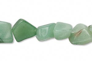 bead, green aventurine (natural), mini to medium nugget, mohs hardness 7. sold per 16-inch strand.
