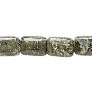bead, green brecciated jasper (natural), 14x10mm rectangle, b grade, mohs hardness 6-1/2 to 7. sold per 16-inch strand.