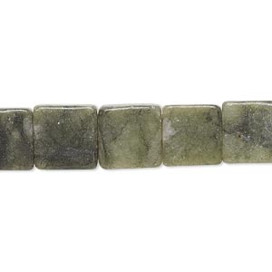 bead, green jungle jasper (natural), 10x10mm-11x11mm flat square, c grade, mohs hardness 2-1/2 to 6. sold per 15-inch strand.