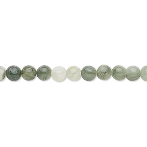 bead, green line jasper (natural), 4mm round, b grade, mohs hardness 6-1/2 to 7. sold per 16-inch strand.