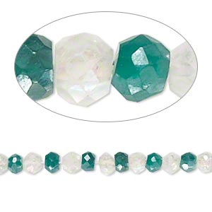 bead, green onyx and quartz crystal (natural / coated / dyed), luster and ab, 4x2mm-5x3mm hand-cut faceted rondelle, b- grade, mohs hardness 6-1/2 to 7. sold per 14-inch strand.