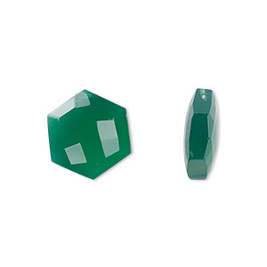 bead, green onyx (dyed), 12.5mm hand-cut flat faceted hexagon, b grade, mohs hardness 6-1/2 to 7. sold per pkg of 2.