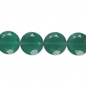 bead, green onyx (dyed), 12mm hand-cut faceted flat round, b grade, mohs hardness 6-1/2 to 7. sold per pkg of 10.