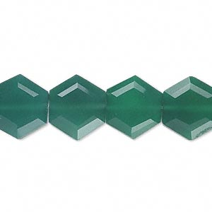 bead, green onyx (dyed), 13x12mm hand-cut faceted hexagon, b grade, mohs hardness 6-1/2 to 7. sold per pkg of 10.