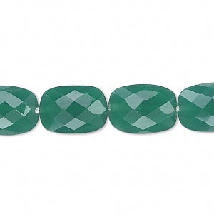 bead, green onyx (dyed), 14x10mm hand-cut checkerboard-faceted puffed rectangle, b grade. sold per pkg of 10.