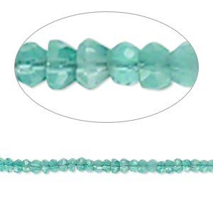 bead, green onyx (dyed), 2x1mm-3x3mm hand-cut faceted rondelle, b- grade, mohs hardness 6-1/2 to 7. sold per 14-inch strand.