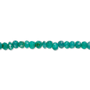 bead, green onyx (dyed), 4x2mm-5x4mm hand-cut faceted rondelle, c grade, mohs hardness 6-1/2 to 7. sold per 13-inch strand.