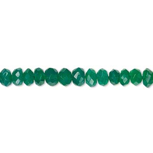bead, green onyx (dyed), 4x3mm-5x4mm hand-cut faceted rondelle, b- grade, mohs hardness 6-1/2 to 7. sold per 13-inch strand.