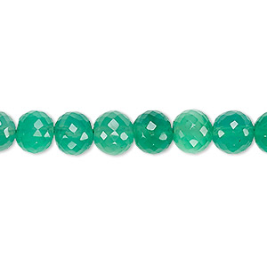 bead, green onyx (dyed), 7-8mm hand-cut faceted round, b grade, mohs hardness 6-1/2 to 7. sold per 8-inch strand.