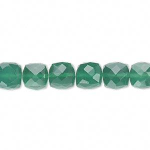 bead, green onyx (dyed), 8x8mm hand-cut faceted cube, b grade, mohs hardness 6-1/2 to 7. sold per pkg of 10.