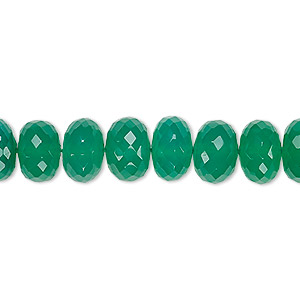 bead, green onyx (dyed), 9x6mm-10x7mm hand-cut faceted rondelle, b+ grade, mohs hardness 6-1/2 to 7. sold per 8-inch strand.