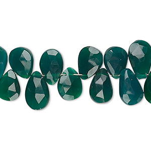 bead, green onyx (dyed), dark, 10x8mm-12x9mm hand-cut top-drilled faceted puffed teardrop, b grade, mohs hardness 6-1/2 to 7. sold per 4-inch strand.