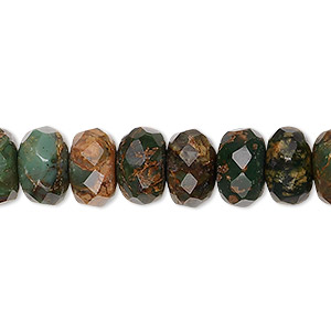 bead, green opal (natural), 10x6mm faceted rondelle, b grade, mohs hardness 4-1/2 to 6. sold per 16-inch strand.