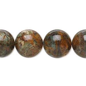 bead, green opal (natural), 14mm round, b grade, mohs hardness 4-1/2 to 6. sold per 16-inch strand.