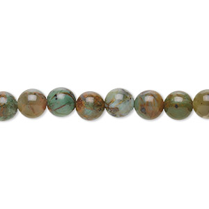 bead, green opal (natural), 6mm round, b grade, mohs hardness 4-1/2 to 6. sold per 16-inch strand.