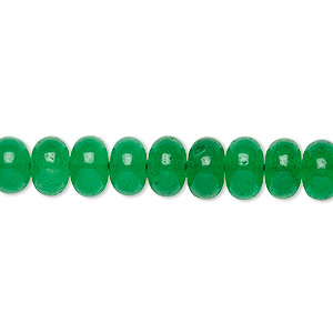 bead, green quartz (dyed), 6x4mm-8x5mm graduated hand-cut rondelle with 0.4mm-1.4mm hole, b grade, mohs hardness 7. sold per 16-inch strand.