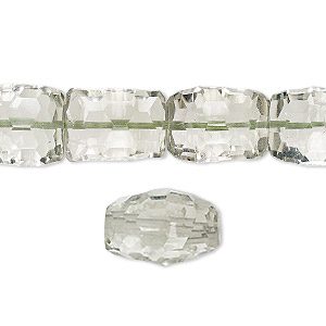 bead, green quartz (heated), 12x10mm-14x11mm hand-cut concave faceted rectangle, b grade, mohs hardness 7. sold per 8-inch strand, approximately 15 beads.