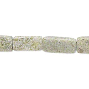bead, green serpentine (natural), 13x8mm-19x9mm flat rectangle, d- grade, mohs hardness 2-1/2 to 6. sold per 15-inch strand.