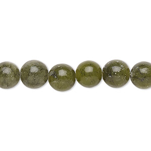 bead, green serpentine (natural), 8mm round, b grade, mohs hardness 2-1/2 to 6. sold per 16-inch strand.