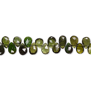 bead, green tourmaline (natural), 6x4mm hand-cut top-drilled faceted teardrop with 0.4-1.4mm hole, b+ grade, mohs hardness 7 to 7-1/2. sold per 8-inch strand, approximately 65-75 beads.