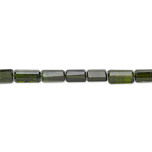 bead, green tourmaline (natural), dark, 4x3mm-8x6mm hand-cut faceted round tube, b grade, mohs hardness 7 to 7-1/2. sold per 12-inch strand.