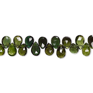bead, green tourmaline (natural), shaded, 7x5mm-8x6mm hand-cut top-drilled faceted teardrop with 0.4-1.4mm hole, b+ grade, mohs hardness 7 to 7-1/2. sold per 8-inch strand, approximately 55-60 beads.