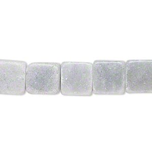 bead, grey marble (natural), 10x10mm flat square, c grade, mohs hardness 3. sold per 15-inch strand.