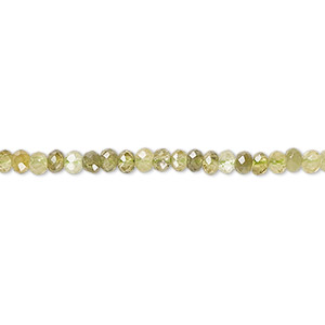 bead, grossularite garnet (natural), 3x2mm faceted rondelle with 0.5-1.5mm hole, b grade, mohs hardness 7 to 7-1/2. sold per 16-inch strand.