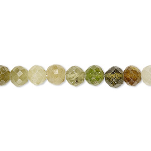 bead, grossularite garnet (natural), 6-7mm hand-cut faceted round, c- grade, mohs hardness 7 to 7-1/2. sold per 8-inch strand.