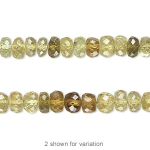 bead, grossularite (natural), shaded, 4x2mm-6x4mm graduated hand-cut faceted rondelle, b- grade, mohs hardness 6-1/2 to 7-1/2. sold per 14-inch strand.