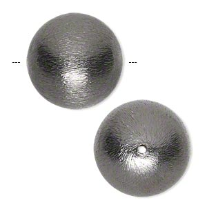 bead, gunmetal-finished copper, 20mm brushed round. sold per pkg of 2.