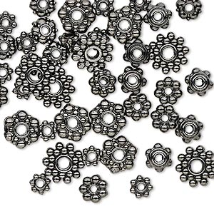 bead, gunmetal-finished pewter (zinc-based alloy), 4x1mm-8.5x3mm assorted rondelle. sold per pkg of 50.