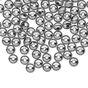 bead, gunmetal-plated brass, 4.5x3mm corrugated saucer. sold per pkg of 100.