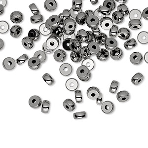 bead, gunmetal-plated brass, 4mm heishi. sold per pkg of 100.