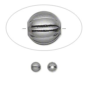 bead, gunmetal-plated brass, 5mm corrugated round. sold per pkg of 100.