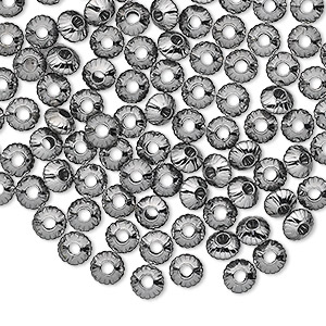 bead, gunmetal-plated brass, 5x3mm corrugated saucer. sold per pkg of 100.