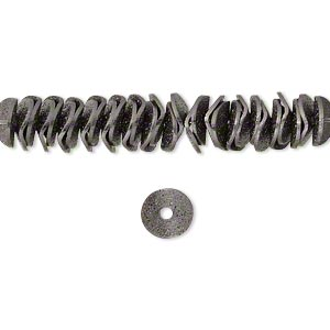 bead, gunmetal-plated brass, 6x2mm textured wavy rondelle. sold per pkg of 30.