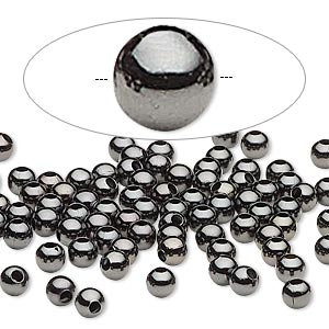 bead, gunmetal-plated steel, 4mm round. sold per pkg of 100.