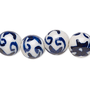 bead, hand-glazed porcelain, opaque white and blue, 11mm double-sided round with flowers. sold per 8-inch strand, approximately 15 beads.