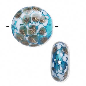 bead, handblown glass, aqua blue and white with copper-colored glitter, 22mm flat round. sold per pkg of 2.