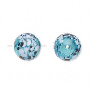bead, handblown glass, blue / brown / white, 13mm round. sold per pkg of 2.